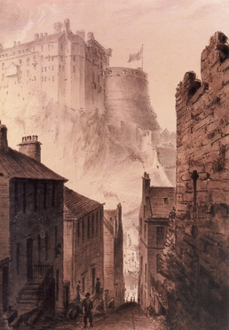19th C view of castle from Vennel
